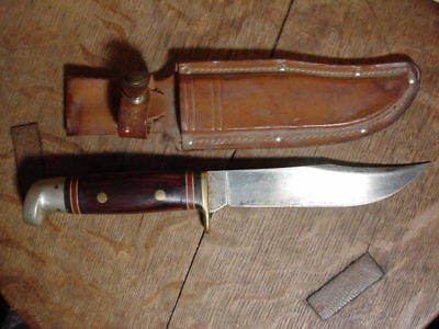 WESTERN U.S.A. W36 vintage FIXED BLADE HUNTING KNIFE with Rosewood Handle