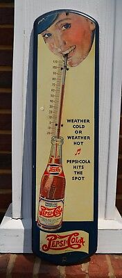RARE Pepsi:Cola thermometer / sign double dot - Girl / Straw / Hits the Spot