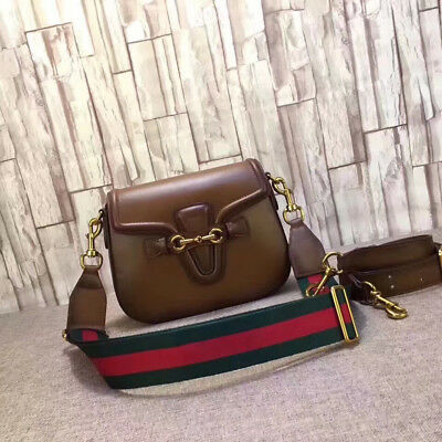 Preowned Gucci Women's GG Logo Genuine Leather Shoulderbag Crossbag Brown