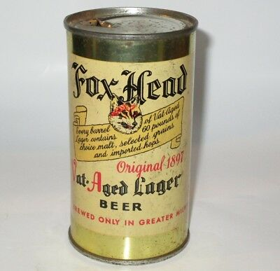 Fox Head Vat-Aged Lager flat top beer can, Waukesha, WI, 1950s