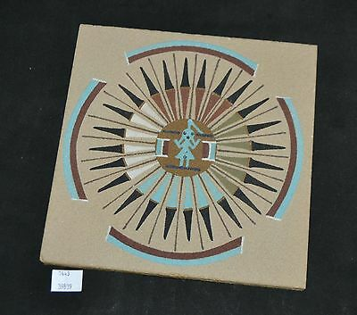 ThriftCHI ~ Native American Sand Art Sun & Eagle By Thomas 8""