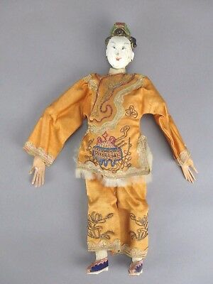Antique Chinese Opera Doll Female Long Finger Embroidered Orange Dress