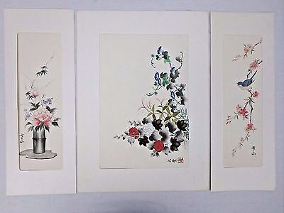 Japanese Chinese Embroidered Silk Wall Hanging Signed Floral Bird Pink Blue