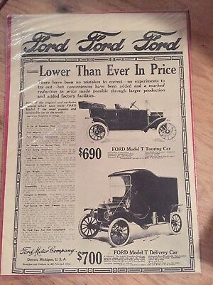 1911 Ford Model T Touring Car / Delivery Car Detroit Mi Print Ad