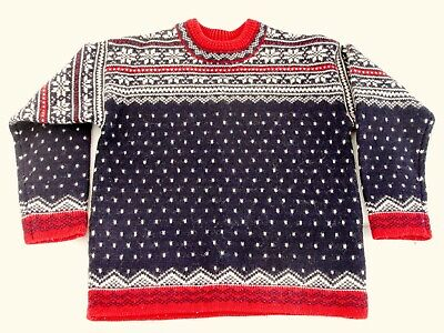 LANDS END Boys Sweater Size 7 - 8 Christmas Holiday Norwegian Style