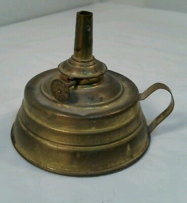 E. Miller Company Small Finger Lamp Tin and Brass GUC (BL)