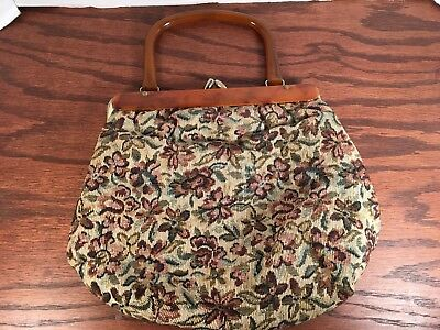 Vintage Tapestry Purse with Bakelite Handles