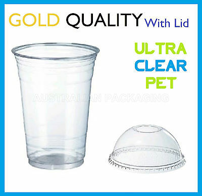 100 16oz CLEAR PLASTIC CUPS WITH DOME LIDS SMOOTHIE DISPOSABLE CUP 500mL