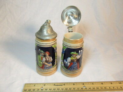 2 Vintage Jerz Small Beer Stein Lid Miniature Antique Collectible East Germany