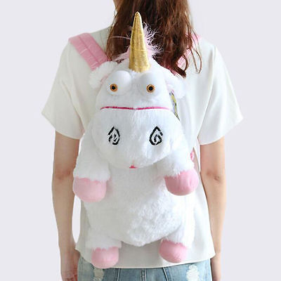 US Stock Cute Unicorn Plush Backpack Bag Despicable Fluffy Stuffed Gift 60cm