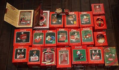 Lot of 21 Coca-Cola Enesco Christmas Ornaments