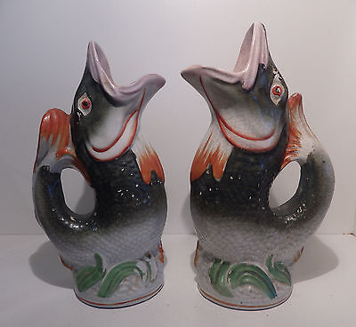 Rare Pair 19th Century Staffordshire Hand Painted Fish Gurgle Jugs