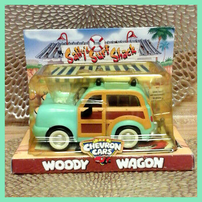 NIP Vintage Collectible Chevron Toy Cars WOODY WAGON w/ Surfboard—1999