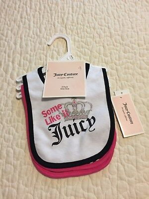 3 Juicy Couture Adorable Baby Girl Bibs-NWT