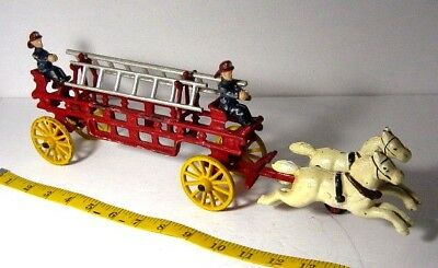 """Lg. 15"""" Vntg. Cast Iron Fireman w/Carriage & Horses,Ladders,/Reproduction/NICE!"""