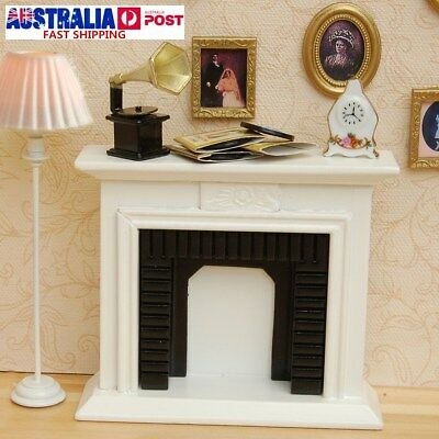 White 1/12 Miniature Fireplace Dollhouse Furniture Accessories Home Decor Gift !
