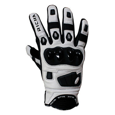 Richa Rock Black / White Motorcycle Motorbike Leather Racing Gloves | All Sizes