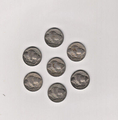 7 Buffalo Nickles Vintage Beautiful Old Antique  US Coins