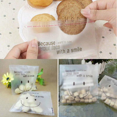 Self Adhesive Cookie Bag Cute Wink Smiley Face Candy Bag Matte Kids Nice Gift889