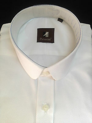White Cotton Mens Club Collar Shirt Penny Long sleeve Round Peaky Blinders Gents