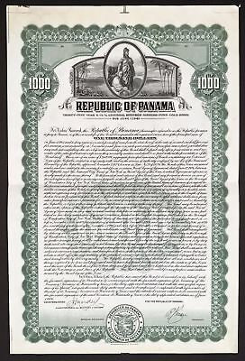Panama specimen $1,000 35-year 6-1/2-percent external secured gold bond 1-6-1926