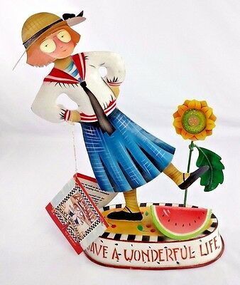 "1998 NWT Mary Engelbreit 9.75"" Tin Metal Figure Bobble HAVE A WONDERFUL LIFE"