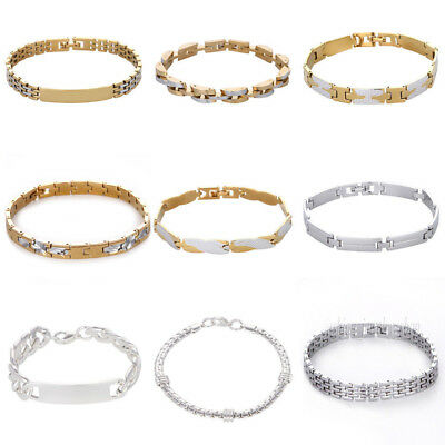 Two Tone Stainless Steel Men's Women Chain Link Bracelet Wristband Cuff Bangle
