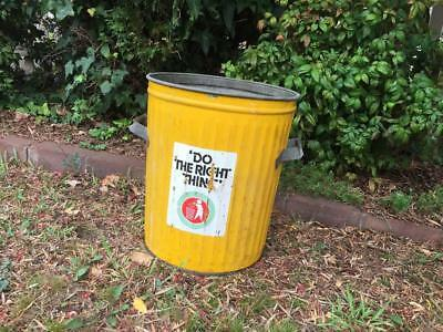 "Retro Galvanised Old School Yellow Metal Rubbish Garbage Bin ""Do the right thing"