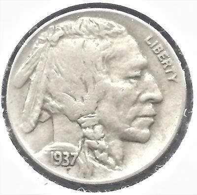 1937 5C Buffalo Nickel Choice XF/Extremely Fine - Almost Full Horn  [#108]