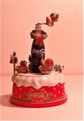"RARE Enesco Coca Cola Christmas Music Box. "" Teach The World To Sing"", Lights up"