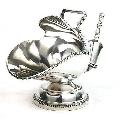 Vintage Silver Plated Sugar Scuttle With Scoop Hand Engraved EPC