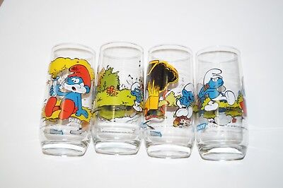 Vintage 1982 Peyo Smurf Glasses Set of 4