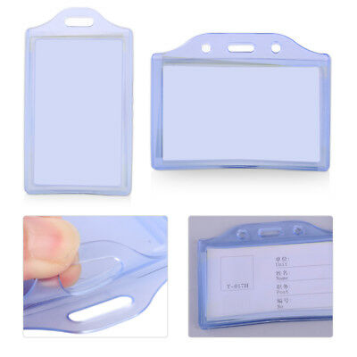 Clear Soft Plastic 2 Pockets Vertical Horizontal Business ID Card Badge Holder