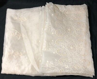 "Pair Of Vintage Window Sheers Curtains With Embroidery 60""x84"""