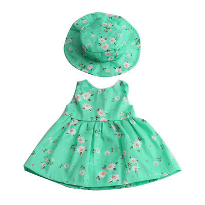"""Dolls Clothes Floral Dress Hat Suit Outfit for 18"""" American Girl Doll Green"""