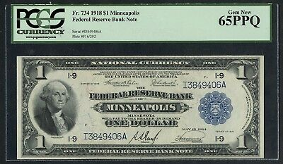 Fr734 $1 1918 Frbn Minneapolis Pcgs 65 Ppq 5 Known This Grade To Better Wlm4745