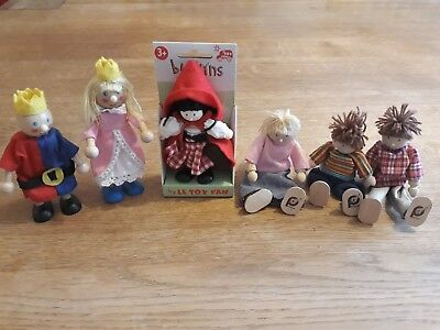 Wooden Dolls House People, 6 figures: 1 new in package, 3 pintoy and 2 others