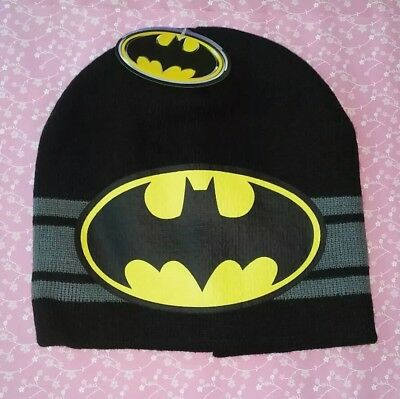 Batman Black & Yellow Stretch Beanie Hat Boys NWT DC Comics
