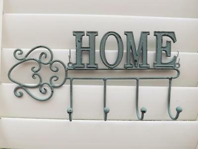 **Cast Iron Home Sign & Wall Keys Clothes Hanger ** New*4 Hooks