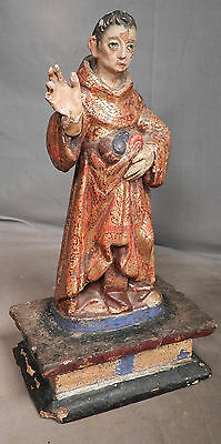 Antique Carved Wood Saint Statue 18th c. Santo Early Paint Mexican Folk Art