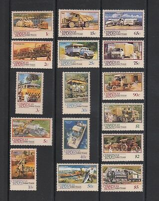 CHRISTMAS Island 1990 TRANSPORT  Complete set 16 to $5 MNH -