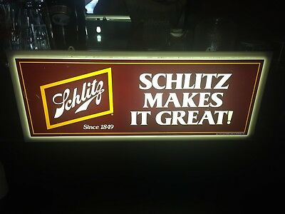 Excellent Condition 1977 Schlitz Beer Light Bar Sign Breweriana Man Cave Works!