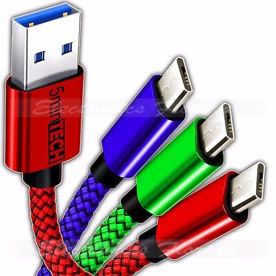 3-PACK MIcro USB Nylon Braided USB Data Sync Charger Charging Cable Cord
