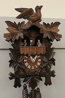 "RIVER CITY ""Black Forest"" Handcarved Leaves & Bird Wooden Musical Cuckoo Clock"