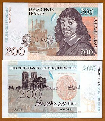 France, 200 Francs, 2015 Private Issue, UNC > Descartes