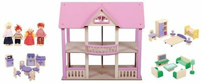 New Wooden Doll Dolls House Dollhouse With 29 Pieces Wooden Furniture
