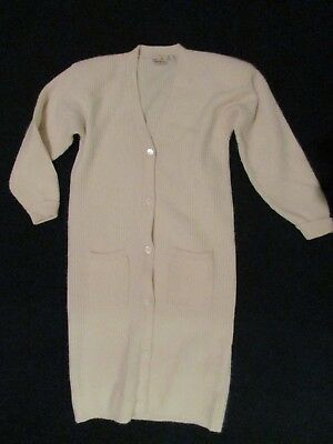 Vtg Liz Claiborne Lambswool / Angora Long Sweater Coat Button Front Size L Cream