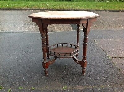 Victorian Aesthetic Antique Octagonal Occasional Side Table  Two Tier