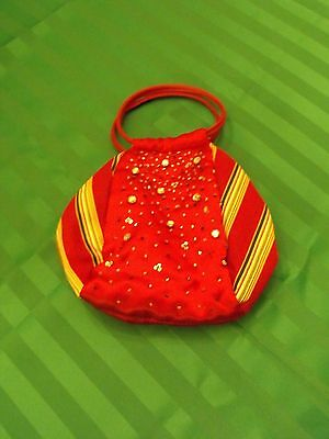 Longaberger Red Stripe Purse With Sequins
