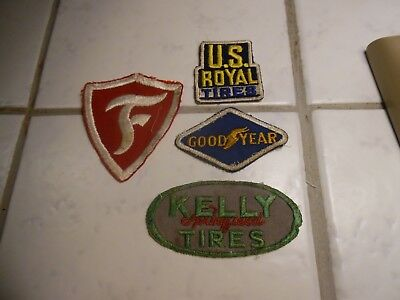 Vintage Lot of 4 Gas and Oil Patches, Firestone, Good Year, Kelly and U.S Royal